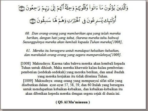 Al Mu'minuuun 60-61